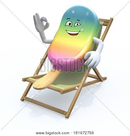 Ice Lolly Cartoon That Rest In Beach Chair
