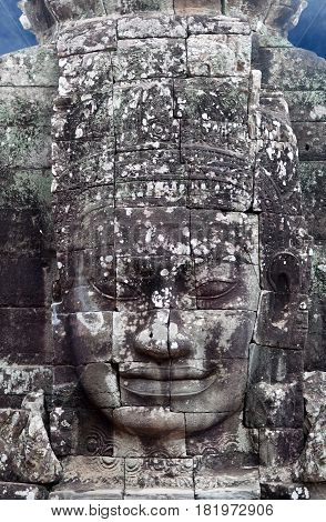 Ancient bas-relief of Prasat Bayon temple (late 12th - early 13th century) in Angkor Thom, Cambodia