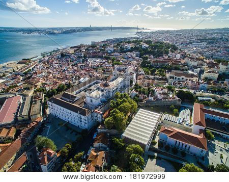 Aerial View Lisbon city at september 2016