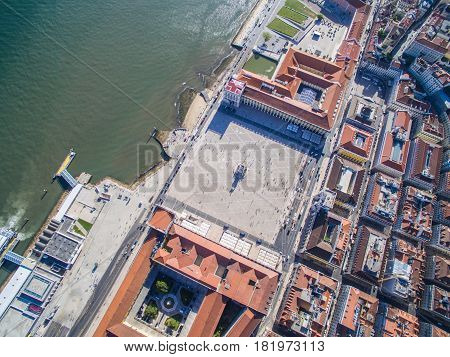 Aerial view of Commerce Square of Lisbon, Portugal at september 2016