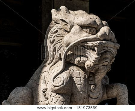 ancient stone lion and beast sculpture of china