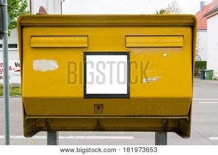 Yellow Metal Blank Mailbox Large Public Slots Double