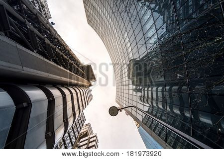 London UK - March 29 2017: The futuristic industrial looking Lloyds building in the City of London on a cloudy day