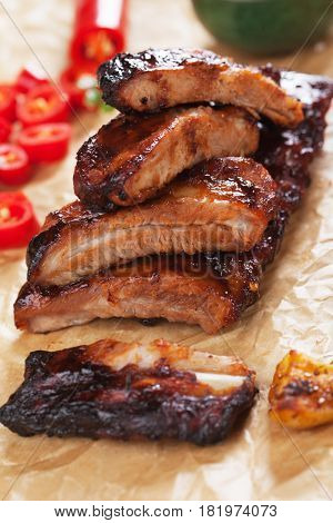Honey glazed pork ribs roasted in oven than barbecued