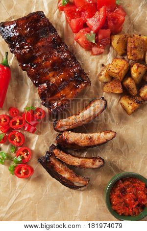 American style roasted pork ribs marinated in barbecue sauce and glazed with honey