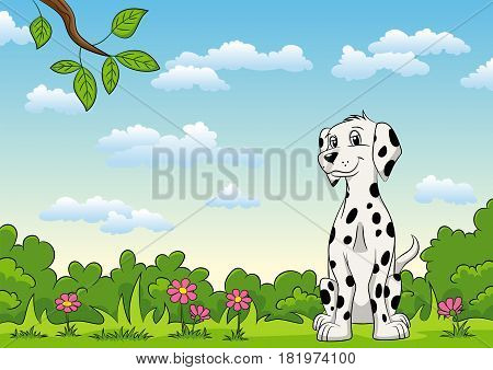 Sweet Dalmatian sits on a flower meadow