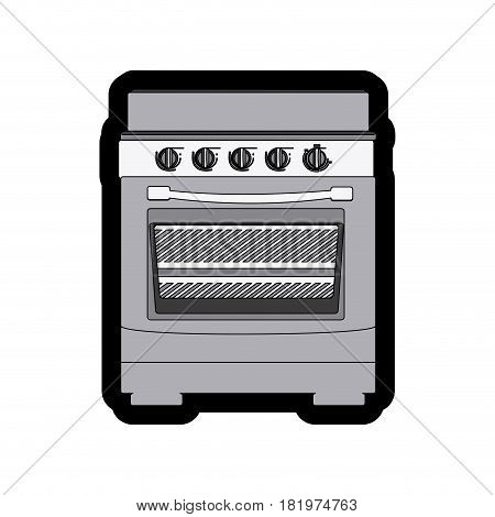 monochrome thick contour of stove with oven vector illustration