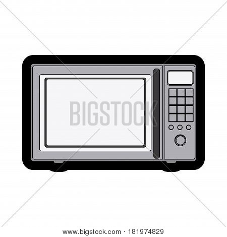 monochrome thick contour of oven microwave vector illustration