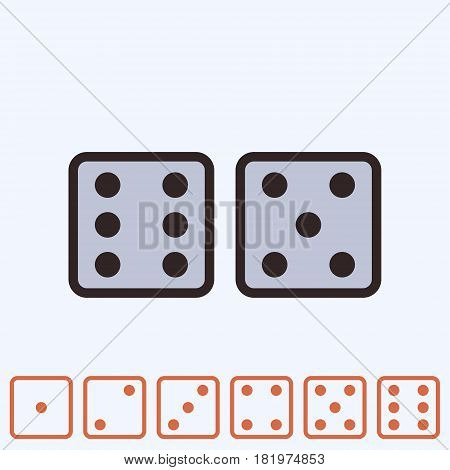 Dice icon isolated. Game dices line design. Vector illustration.