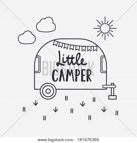 Vector Illustration Little Camper Lettering With Travel Trailer. Outdoor Logo Emblem