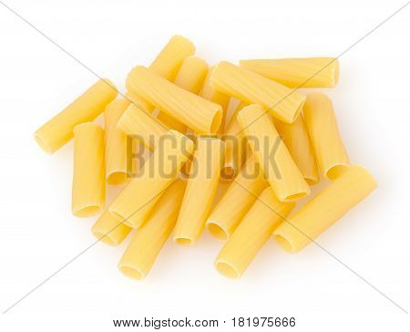 Rigatoni pasta isolated on a white background