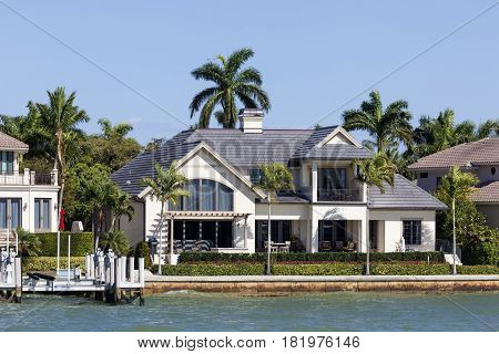 Naples Fl USA - March 18 2017: Luxury waterfront villa in the city of Naples. Florida United States