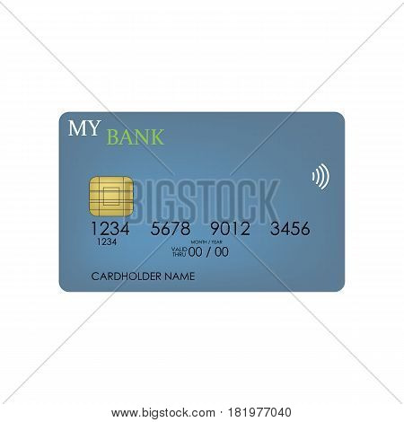 credit card on the white background. Vector llustration