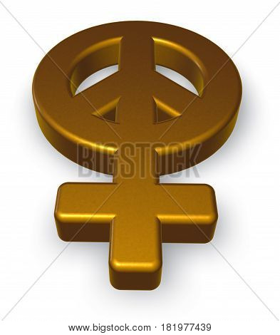 female gender and peace symbol mix - 3d rendering