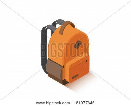 Vector isometric illustration of modern orange school backpack