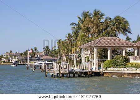 Luxury waterfront neighborhood in Naples. Florida United States