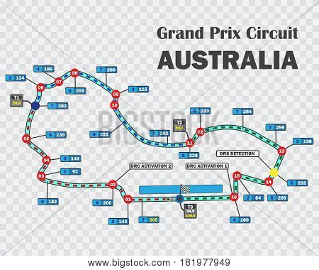 Australian grand prix race track .Detailed racetrack or national circuit for motorsport and formula qualification. Vector illustration.