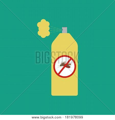 Mosquito spray on the green background. Vector llustration