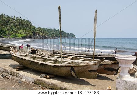 RIBEIRA AFONSO, SAO TOME - JANUARY 29, 2017: Hooker on the seaside of the village Ribeira Afonso on January 29, 2017 in Sao Tome and Principe, Africa