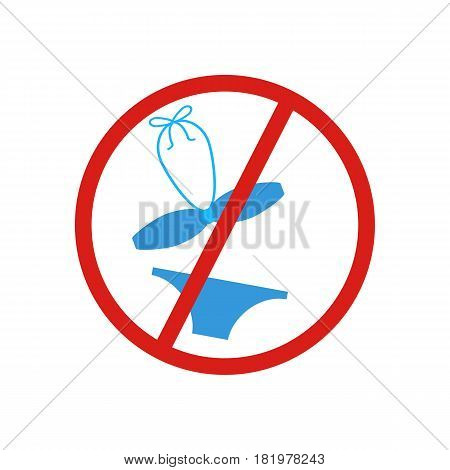 No swimsuit sign on the white background. Vector llustration