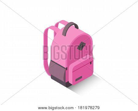 Vector isometric illustration of modern pink school backpack