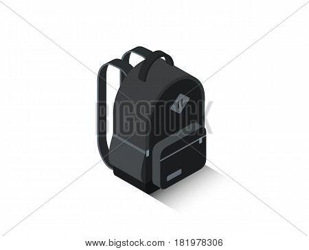 Vector isometric illustration of modern black school backpack