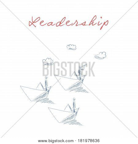 Business leadership concept vector with businessman on paper boat looking through a telescope as a captain. Eps10 vector illustration.