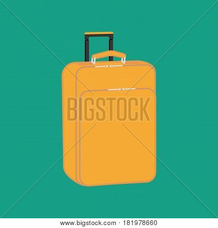 Suitcase on the green background. Vector llustration