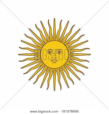 Sun on the white background. Vector llustration