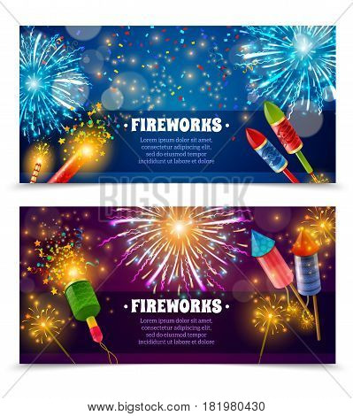 Two festive firework horizontal banners set with text firecrackers rockets and indian lights sparklers isolated vector illustration