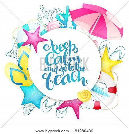 vector hand lettering summer phrase on square paper sheet surrounded with seashells.