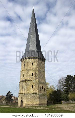 Pointed Tower of Saint Winoc Abbey Bergues Nord Pas de Calais France
