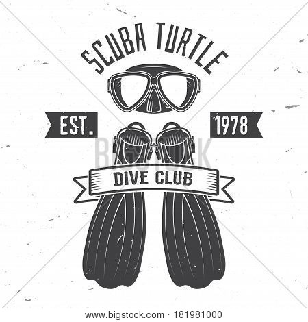 Scuba turtle dive club. Vector illustration. Concept for shirt or logo, print, stamp or tee. Vintage typography design with diving mask and fins silhouette.