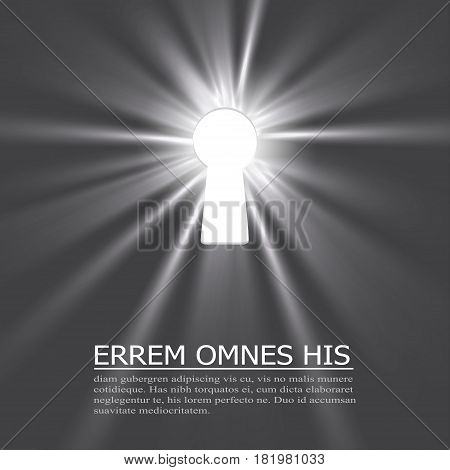 Keyhole lighting with key and place for text on dark background. Vector illustration.