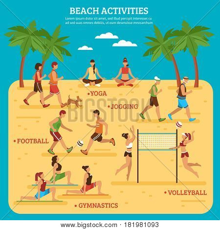 Beach activities infographics with people sport games and bodily exercises on blue background flat style vector illustration