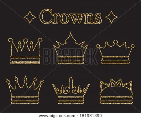 Set of crowns in doodle style. Gold glitter texture. Golden gloss effect. Sparkling diadems, tiaras.