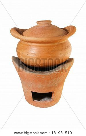 Brown clay pot and clay stove isolated on white background. It made for cooking boiler and stove.