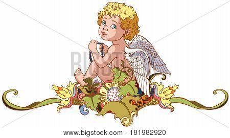 cartoon little angel sitting on floral ornament. Vector isolated on white