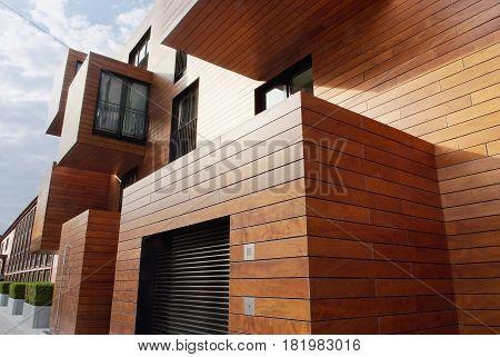 Modern contemporary wood sided building, Hamburg, Germany