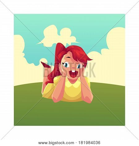 Teenage girl with long red hair and big eyes lying on green grass under summer sky, colorful cartoon vector illustration. Girl, kid, child lying on the grass, summer vacation concept