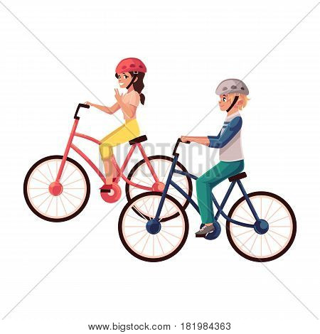 Young pretty woman riding bicycle, cycling together with her teenage son, cartoon vector illustration isolated on white background. Full length, side view portrait of mother and son riding bicycles