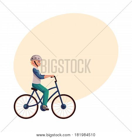 Teen boy, teenager riding urban bicycle, cycling in helmet, cartoon vector illustration with space for text. Full length, side view portrait of fair haired boy riding a bicycle, cycling