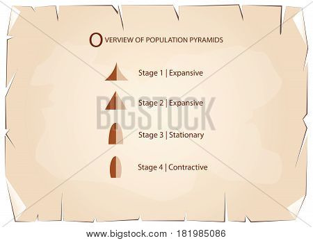 Population and Demography, Illustration Set of 5 Types of Population Pyramids Chart or Age Structure Graph on Old Antique Vintage Grunge Paper Texture Background.