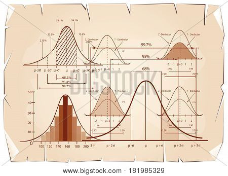 Business and Marketing Concepts, Standard Deviation , Gaussian Bell or Normal Distribution Population Pyramid Chart for Sample Size Determination on Old Antique Vintage Grunge Paper Background.