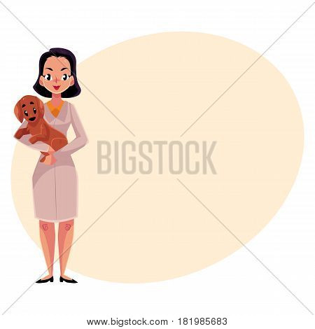 Young woman, female veterinarian doctor, vet in white medical coat holding a dog, cartoon vector illustration with space for text. Female, woman veterinarian doctor, vet holding a puppy