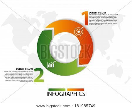 Vector Illustration. Template With A Circle Divided Into Two Arrows For Infographics, Business, Pres