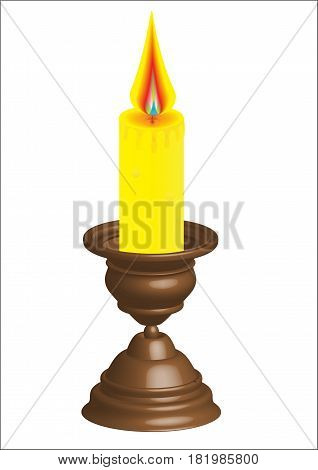 The candle that burns is installed in a candlestick, the drawing is made in a vector editor