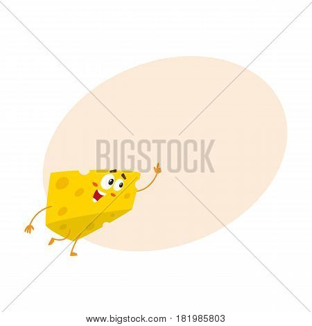 Cute and funny cheese chunk character pointing up with its finger, cartoon vector illustration with space for text. Funny cheese piece character, mascot with human face pointing up