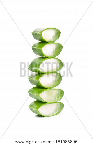 Slices of Green Aloe Vera on White Background