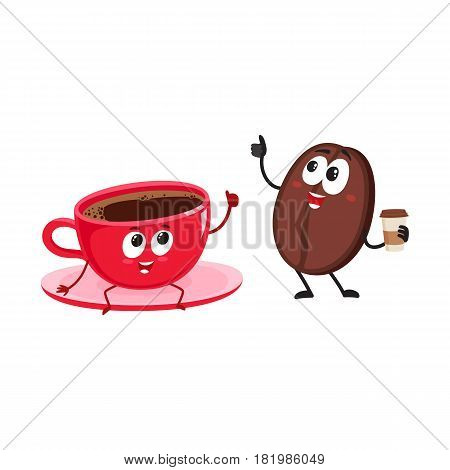 Funny coffee bean and espresso cup characters showing thumb up, cartoon vector illustration isolated on white background. Coffee bean with paper coffee cup and espresso, americano characters, mascots